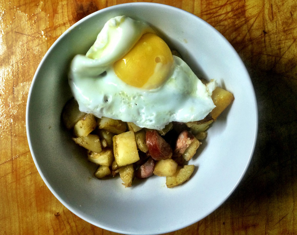 fried egg with chorizo and potato hash