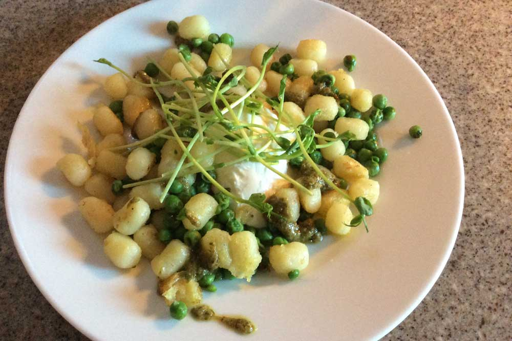 feels like spring gnocchi with peas basil and buffalo mozzarella