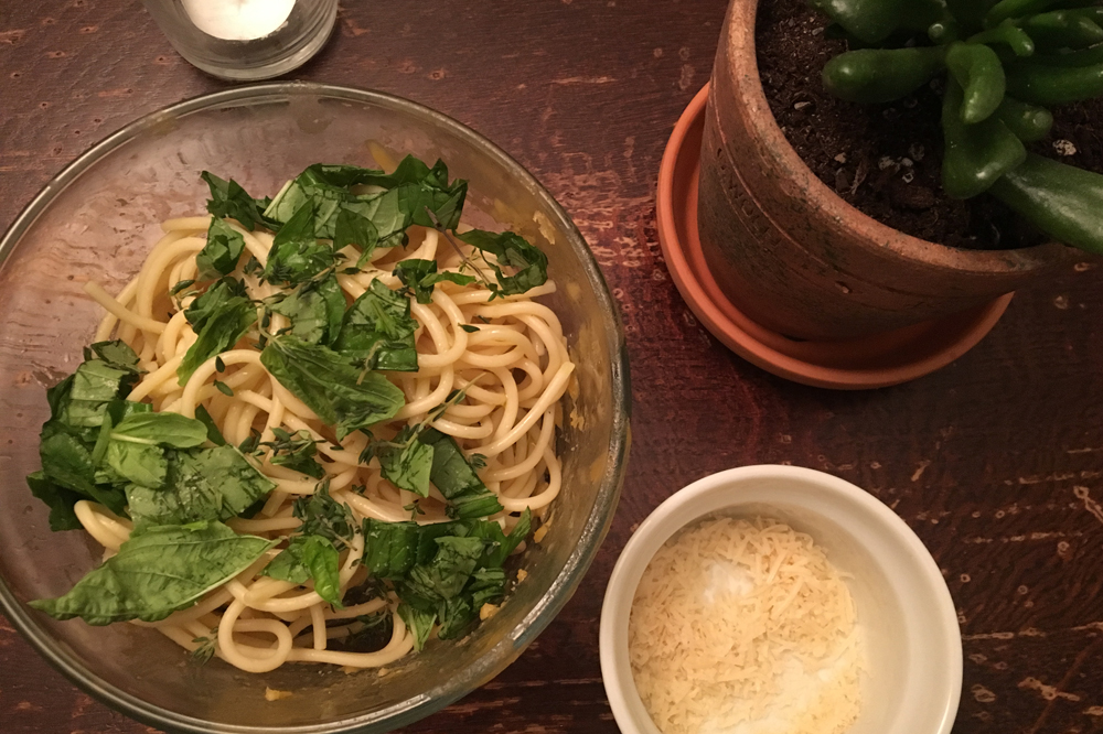 What I learned from a month reducing food waste pasta with herbs